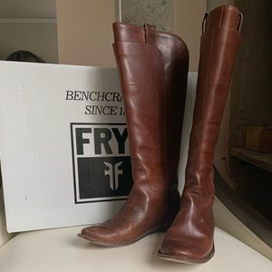 Frye Tall Leather Boots Paige Cognac